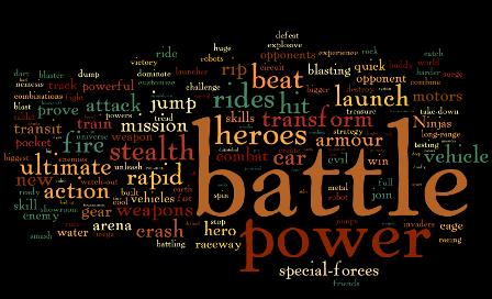 Que palavras são mais comuns nos comerciais para meninos e meninas?